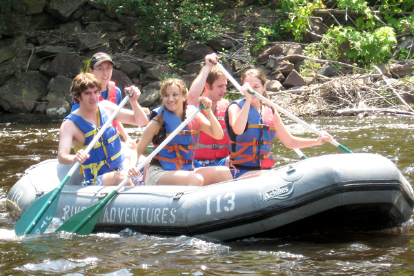 Lehigh University Physics - Students rafting on a river