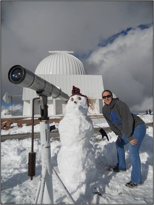 Lehigh University Physics - Amber Marsh Boyer in front of the 0.9m telescope at CTIO in Chile