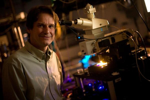 Professor and Chair, Volkmar Dierolf in condensed-matter physics lab