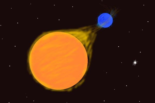 Study of close, interacting binary stars. Artist's conception of U Cephei
